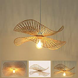 Suspension E27 Lustre Lumière Pendentif Vintage Rétro Lampe Suspendu Industriel Bambou Rotin Naturel Tissé Lampes…