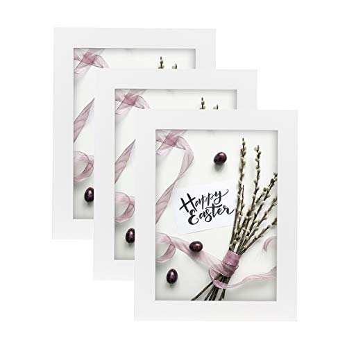 Home&Me 100% Echtholz Bilderrahmen Weiß 13x18cm 3er Set Fotorahmen mit Echtglas zum aufhängen und aufstellen