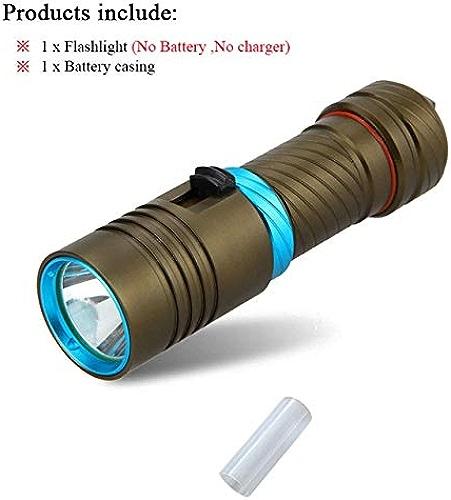 Lot A Marron   lampe torche de plongée LED 100 m CREE XM-L2 rechargeable étanche 18650 ou 26650