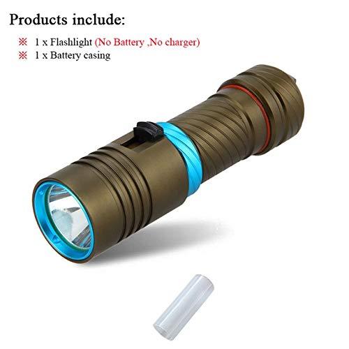 Lot A Marron : lampe torche de plongée LED 100 m CREE XM-L2 rechargeable étanche 18650 ou 26650