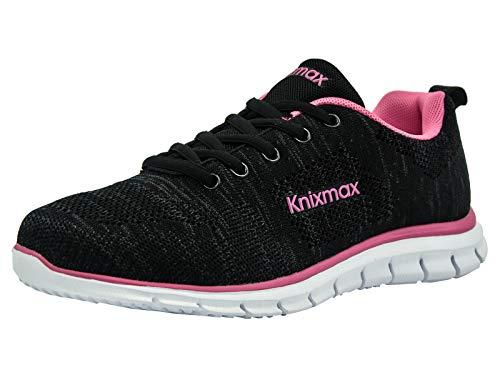 Knixmax Herren Damen Laufschuhe Sneaker Leicht Bequem Atmungsaktiv Sportschuhe Turnschuhe Outdoor Fitnessschuhe Knit Schwarz-Rosa Damen Gr.39 EU