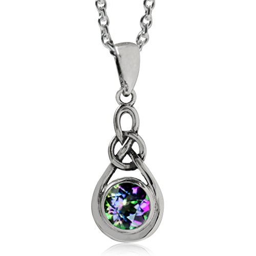 Silvershake Mystic Fire Topaz 925 Sterling Silver Celtic Knot Drop Pendant with 18 Inch Chain Necklace