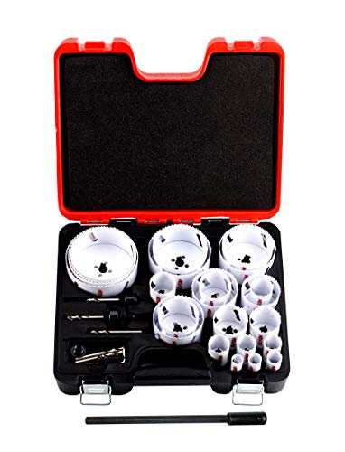 Bi-Metal Hole Saw Kit,30-Piece All Purpose Combination,Sizes Range:3/4' to 4-3/4',Increased Cutting Depth Ideal For Wood,Metal,PVC,Aluminum,Steel Tubes,Stainless Steel Sheet By Henson