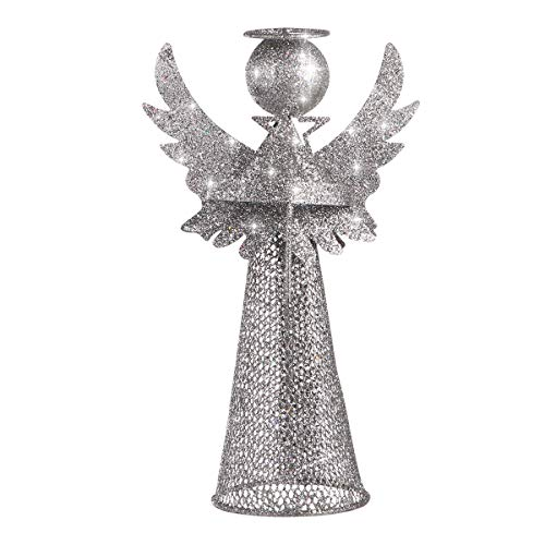 Amosfun Christmas Tree Topper Angel Tree Topper Treetop Xmas Tree Ornament for Christmas Decorations(Silver) (Silver)