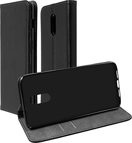 Baluum Hülle Kunstleder Bookstyle für OnePlus 6T Schwarz mit Einer Silikon Schale - aufklappbare Lederhülle Book-Hülle Cover mit Standfunktion & Kartenfächern