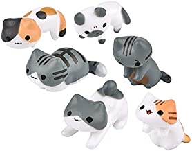 Neko 6pcs Miniature Home Fairy Garden Cats - Micro Kitty Landscape Ornament Decorations – Cute Lucky Cat DIY Figures for Crafts and Home Decor