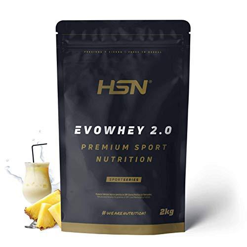 Concentrado de Proteína de Suero Evowhey Protein 2.0 de HSN   Whey Protein Concentrate  Batido de Proteínas en Polvo   Vegetariano, Sin Gluten, Sin Soja, Sabor Piña Colada, 2Kg