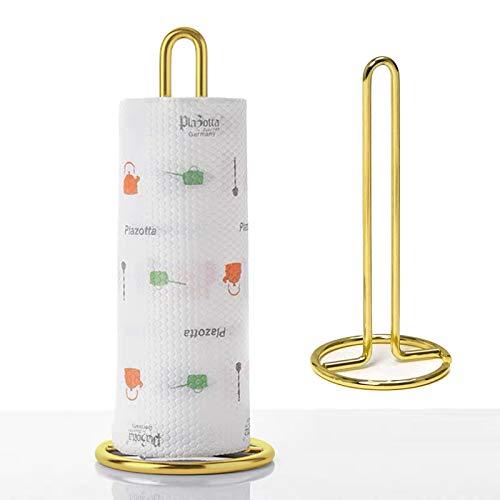 lefeindgdi Tragbarer Küchenrollenhalter Halter aus Edelstahl, Restaurant-Papierlagerregal für Küchenhaushalt (Golden)
