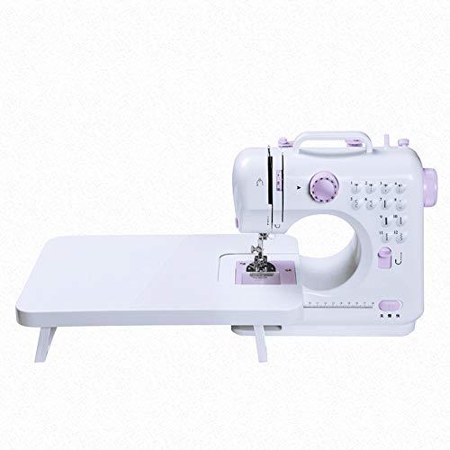 SEGIBUY Mini-naaimachine voor beginners, draagbare dual speed-naaimachine met uittrektafel, licht, naaiset voor huishouden, reizen