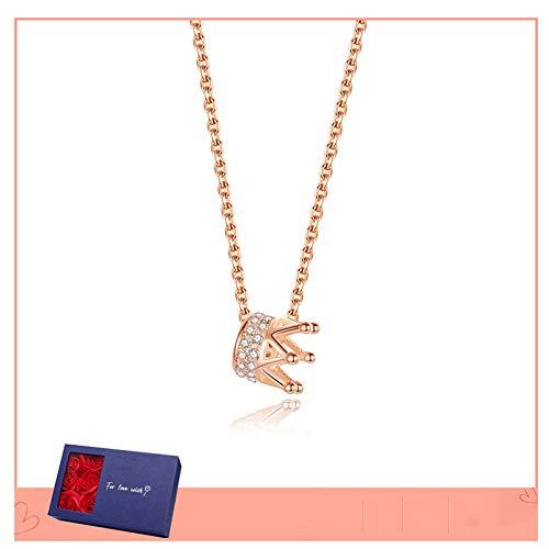 Collares Collar de corona Cadena de clavícula femenina 925 plata esterlina simple...