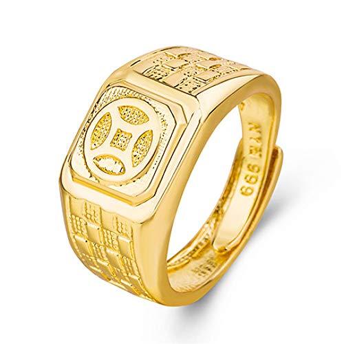 Wuligeya herenring met gouden ring, messing, sieraden, open ring