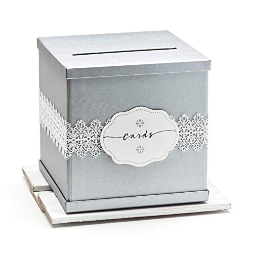 Hayley Cherie - Silver Gift Card Box with White Lace & Cards Label - Textured Finish - Large Size 10