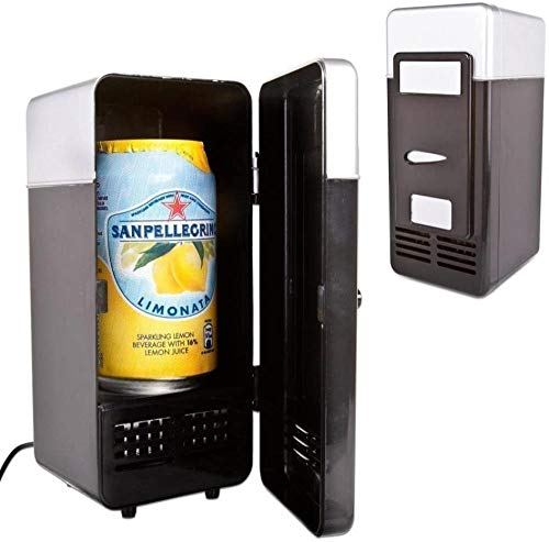 WRJY New Mini Red USB Fridge Cooler Beverage Drink Cans Cooler/Warmer Refrigerator for Laptop PC Computer-Black