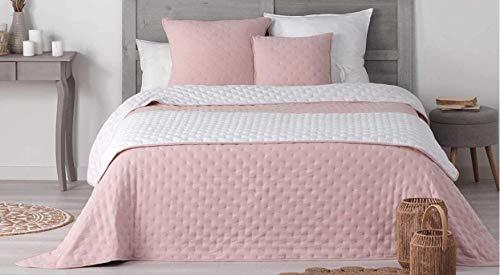 Wendbar tagesdecke, gesteppt, 240 x 260 cm, 100 % Polyester, 3, Mellow Chic (Rosa / Weiß)