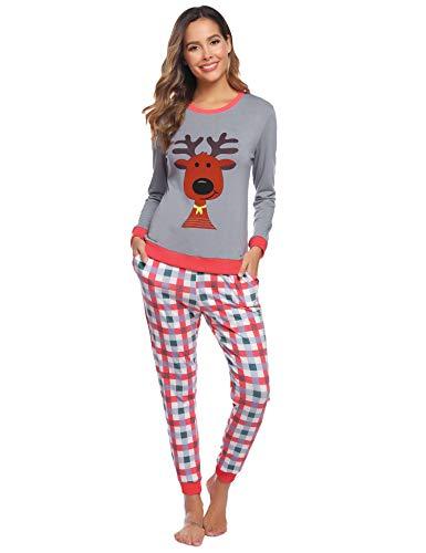 Hawiton Schlafanzug Damen Langarm Pyjama Baumwolle Weinachten Winter Nachtwäsche Sleepwear Set (Grau und Rot, M)