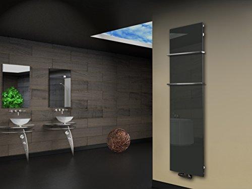 Badheizkörper Design Montevideo 3 (Glas-Front) HxB: 180 x 47 cm, 1118 Watt, silber + 2 Handtuchhalter 15x15mm (Marke: Szagato) Made in Germany/Bad und Wohnraum-Heizkörper Echtglas (Mittelanschluss)