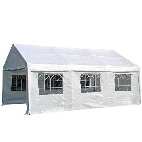 Profi-tent PALMA 4x6 meter, zeilen PVC wit met ramen, stangen 38mm verzinkt