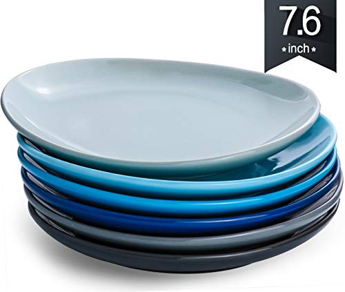 KOMUEE Porcelain Dinner Plates - 7.6 Inch - Set of 6, Cool Assorted Colors