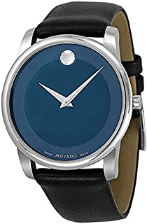 Movado Museum 0606610 Two tone Blue Dial Stainless Steel Body, Calfskin Leather Strap Watch for Gents