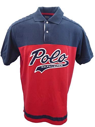 Polo Ralph Lauren Mens Big & Tall Big Felt Script Logo Mesh Rugby Polo Shirt