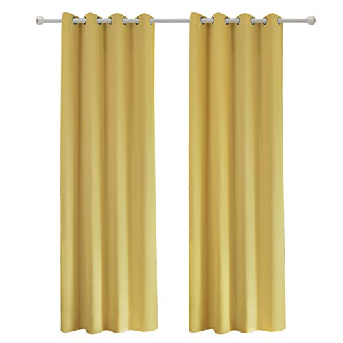 2 Cortinas amarillas para Sala opacas con Ojales