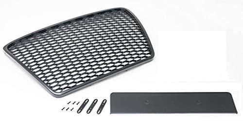 Waben- Gitter- Kühler- Sport- Front- Rippen- Grill ohne Emblem Schwarz Glanz