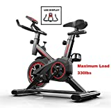 Exercise Cycling Bike Indoor Fitness Bike Adjustable Professional Exercise Bike with LCD Display Workout Training Equipment Comfortable Seat Cushion Saddle for Home Office Gym Black 110*85*4