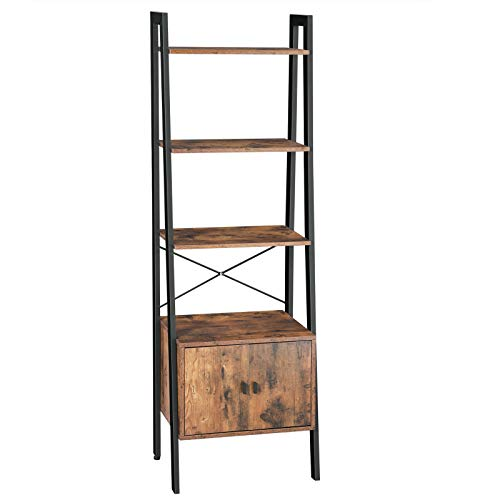 VASAGLE Staande plank, ladderrek, boekenplank met kast, woonkamerplank, 4 planken, stabiel ijzeren frame, slaapkamer, kantoor, 56 x 34 x 173 cm, industrieel ontwerp, vintage, donkerbruin LLS47BX