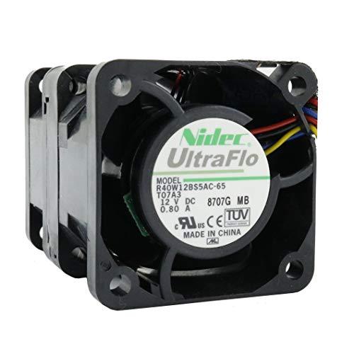 NIDEC Ventilador 40 mm 40 x 40 x 56 mm R40W12BS5AC-65 12 V 0,8 A DC Air Fan 4 cm 4 hilos