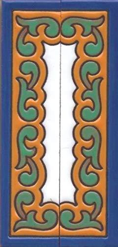 Números de casa, azulejos de cerámica con números y letras, diseño de chalet, tamaño del azulejo: 15 cm x 7,5 cm, 2 a 8 marcos de azulejos (como un juego)