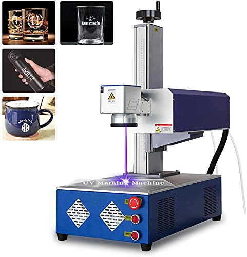 Glass Laser Engraving Machine UV Laser Marking Engraver for Nylon/Leather/Metal Surface/Wood 110V with 5000w Water Chiller (5W 175x175mm 110v)