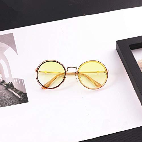 Moda Gafas De Sol Niños Personalidad Lente Redonda Gafas De Sol Sin Marco para Niños Niñas Gafas De Sol para Niños Gafas Amarillo