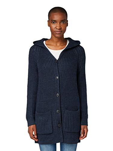TOM TAILOR Damen Langer Kapuzen Strickjacke, Blau (Sky Captain Blue 10668), XXL