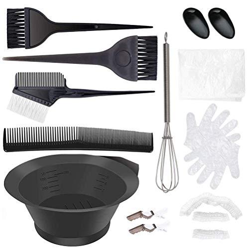 12 Teiliges Haarfärbepinsel Haare Faerben Set mit friseur haarfarbe pinsel/Haartönung Schale/Färbeschale Haarspange Kamm Ohrbedeckung/Mischlöffel für DIY Salon