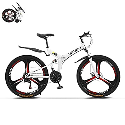 TOUNTLETS 26 Inch Adult Mountain Bikes Unisex Folding Bike Non-Slip Bicycles, Fast-Speed Comfortable Outroad Racing Cycling,21-Speed Gears Dual Disc Brakes Mountain Bicycle for Men/Women, (White)
