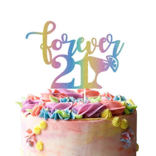 Forever 21 Cake Topper - Twenty One, Finally 21, Hello 21 Cake Décor - Cheers to 21 Years Party Decorations Happy 21st Birthday Gift