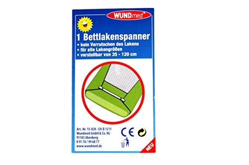 fixe-draps réglable de 35 cm Jusqu'à 120 cm – K & B Drap Housse Tendeur Spanner Pinces bettuch Draps Lit Tendeur de distribution 045 Lot de 4 Weiß (Clips silber)