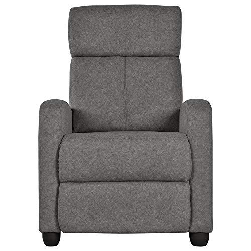 Yaheetech Fernsehsessel Ruhesessel Relaxsessel mit Verstellbarer Beinablage und Liege-Funktion Liegesessel bis 120kg Einzelsofa 140° neigbar aus Leinenstoff Grau