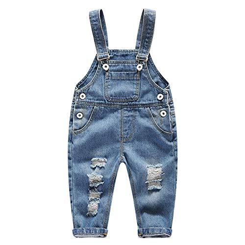 YASSON Baby Kleinkind Denim Overall Latzhose Jeans Hose mit Hasenträger Denimhose für Junge Mädchen,Knopf-Haken und verstellbar,mit 4 Taschen blau 18-24 Monate