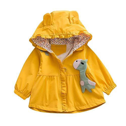 Kleinkind Baby Kinder Mädchen Mädchen Cartoon Kapuzenjacke Winddicht Mantel Outwear Casual Kleidung Baby Pelz Mantel Daunen Jacke Hoodie für Mädchen Gr. 92, gelb