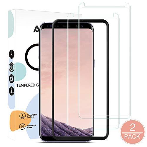 AODOOR Panzerglas Kompatibel mit Samsung Galaxy S8, [2 Stück mit Führungsrahmen] Samsung S8 Schutzfolie 9H Anti-Bläschen Panzerglasfolie, Displayschutzfolie für Samsung Galaxy S8 Displayfolie