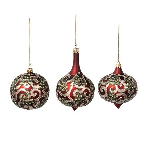 Goodwill Exklusive Weihnachtskugeln Weihnachtsschmuck Baumschmuck Zierschmuck Set (3 Stück) Glaskugel Rot/Gold mit Roten Kristallen Weihnachten Dekoration Christmas Dekoration