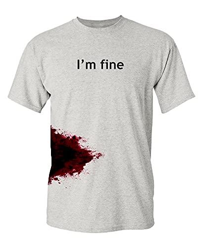 I'm Fine Graphic Novelty Sarcastic Funny T Shirt L Ash
