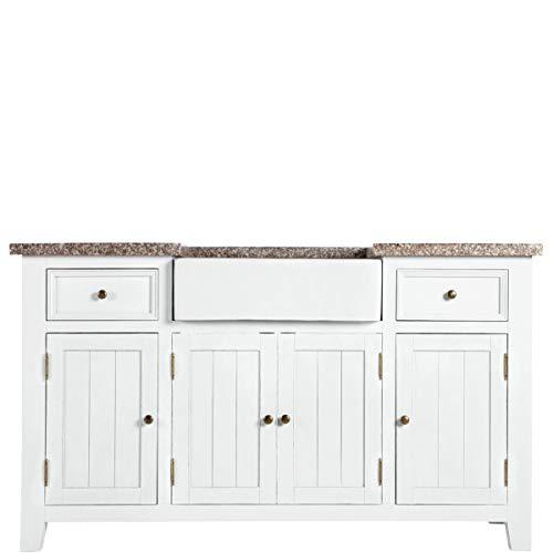 BUTLERS Look Maple Hill Spültisch - Küchenspüle mit Granitarbeitsplatte und Keramikbecken, weißer Retro Stil, 155x90 cm