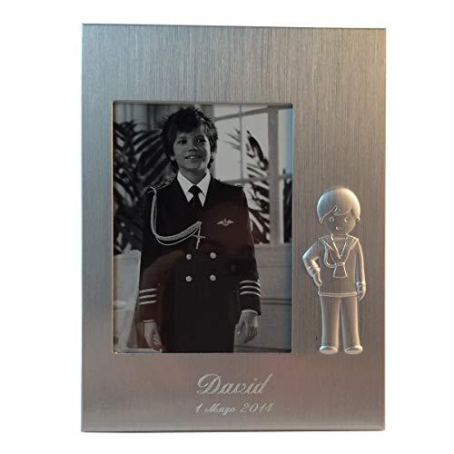 Lote 6 Marco Portafoto para comunión de aluminio, GRABADO personalizado con nombre y fecha (Niño)