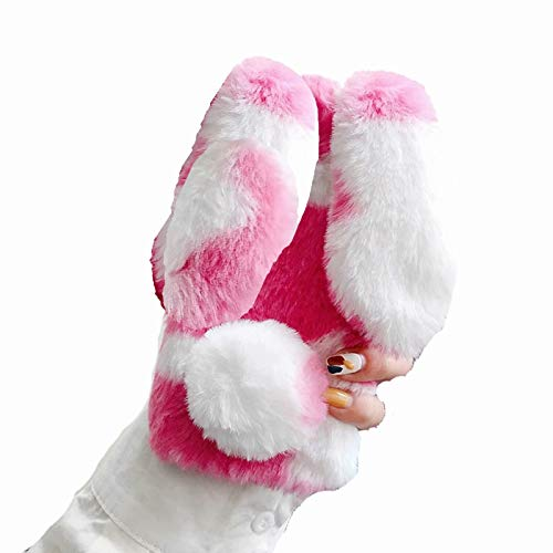Miagon Kuh Handyhülle für Samsung Galaxy A21,Diamant Super Weich Winter Warm Lustig Hase Ohren Kunstpelz Plüsch Fluffy Flexibel Handytasche Schale Case Cover
