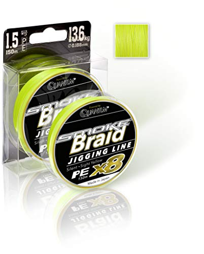 Quantum Premium 8 Fach geflochtene Angelschnur Ø0,138mm Smoke Braid Jigging Line 150m 9,1kg,20lbs Sight Yellow, Neon Gelb, 0,138mm