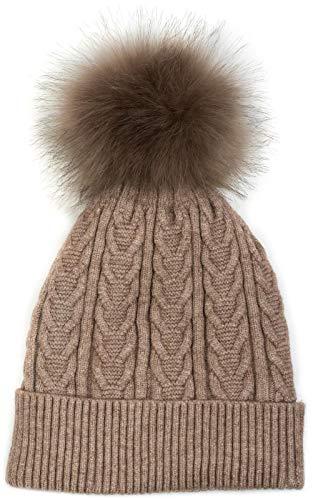 styleBREAKER warme Feinstrick Bommelmütze mit Zopfmuster, Kunstfell Fellbommel Mütze, gefütterte Winter Strickmütze, Unisex 04024100, Farbe:Taupe