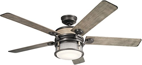 "Kichler 310170AVI Ahrendale 60"" Outdoor Ceiling Fan with LED Light & Wall Control, Anvil Iron"