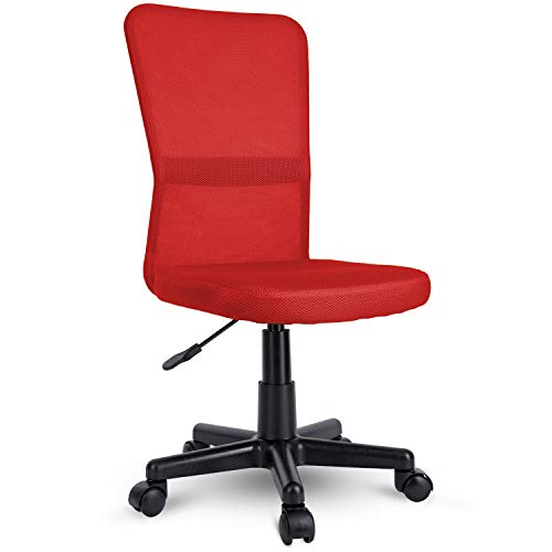 TRESKO Sedia da Ufficio Sedia da scrivania Girevole, in 6 Colori Diversi, Regolabile in Altezza, Sedile Imbottito, Sedia ergonomica, pistone Approvato SGS (Rosso)
